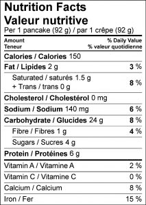 Nutritional Facts Panel for High Protein Profi Pancake Recipe
