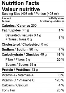 Protein Cherry Berry Smoothie Nutritional Facts Table