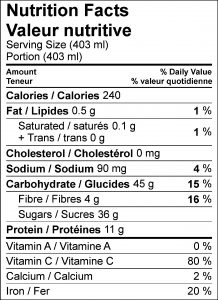 Protein Strawberry-Banana Nutritional Facts Table