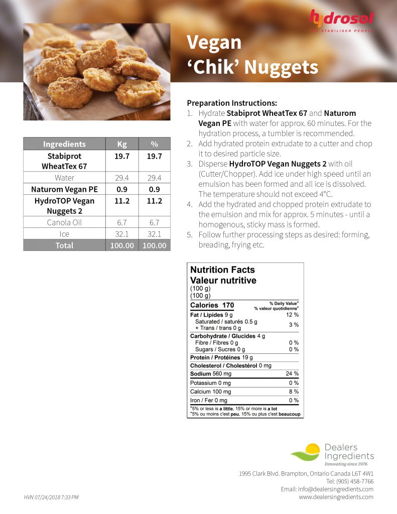 Hydrosol Vegan Chik Nugget Recipe